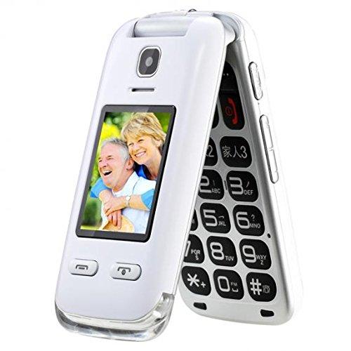 obooy eg520entsperrt GSM Klapp Zelle Telefon, Big Button, Dual-mit großen Tastatur und Big Schriftart, Radio/Kamera/Taschenlampe/Charging Dock, Hörgeräte kompatibel, weiß