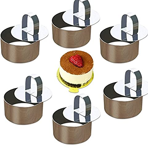 ONEDONE Mousse Rings Stainless Steel Cake Circle Cake Mold with Pusher, 8cm Diameter, Set of 6