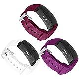Kmasic Kompatibel Gear Fit 2 Pro / Fit2 Armband, Silikon Bänder Ersatzband für Samsung Gear Fit 2 & 2 Pro Tracker- 3 Pack-(Weiß/Lila/Weinrot)