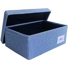 Minene - Cesta de almacenamiento (tamaño pequeño), diseño de rayas, color blanco y azul marino