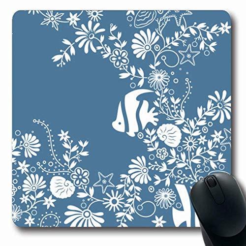 Luancrop Mousepad Längliche abstrakte Blaue Fisch-Blumenmuster-Seeclip-Muschel-Meeresflora und -Fauna-Seestern-Ozean-Entwurfs-Büro-Computer-Laptop-Notizbuch-Mausunterlage, Rutschfester Gummi - Fauna Muscheln