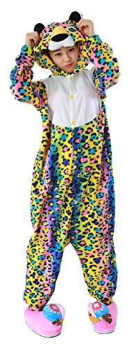 Honeystore Unisex Erwachsene Animal Tier Weihnachten Halloween Fasching Carnival Pajamas Pyjamas Mehrfarbig Leopard Schlafanzug Kostüme Jumpsuit Kleidung L