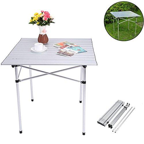 Zerone Aluminium Camping Klapptisch, Rolle Top Table Garden BBQ Party Picknick Tisch Leichte Outdoor mit Tragetasche, 70 x 70 x 70 cm