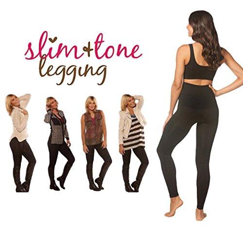 Amazing Slim & Tone Leggings Women's High Waist Casual Sport Gym Slimming Compression Shaping Leggings BLACK COLOUR Test