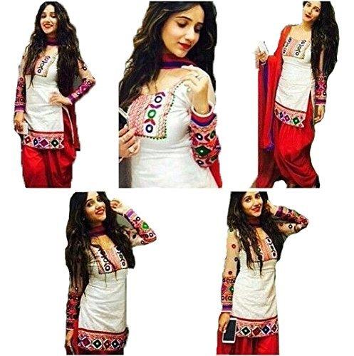 KanishaTrendz Women\'s Cotton Salwar Suits (KT-11-Patialas-White-Red_White_Free Size)