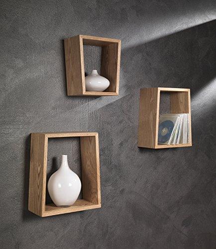 WINK DESIGN Trapezio Set 3 Mensole, Legno, Marrone, 26x12x30 cm