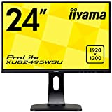 iiyama ProLite XUB2495WSU-B1 61,13cm (24,1 Zoll) IPS LED-Monitor 16:10 (VGA, HDMI, DisplayPort, USB2.0, Ultra-Slim-Line, Höhenverstellung, Pivot) schwarz