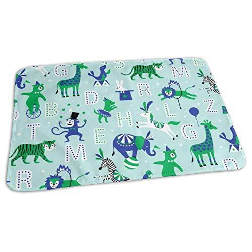 Zcfhike Circus Animal Alphabet Bluegreen Baby Portable Reusable Changing Pad Mat 19.7X 27.5 inch - Kardinäle Polyester