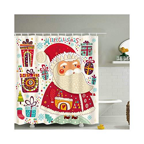Gnzoe Polyester Duschvorhang Langer Bart Santa Claus Muster Design Badewanne Vorhang für Badewanne Badezimmer Bunt 150x200CM