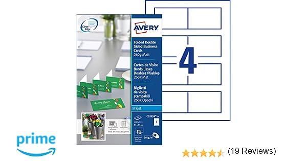 Avery 100 Cartes De Visite Doubles Pliables Bords Lisses 260g