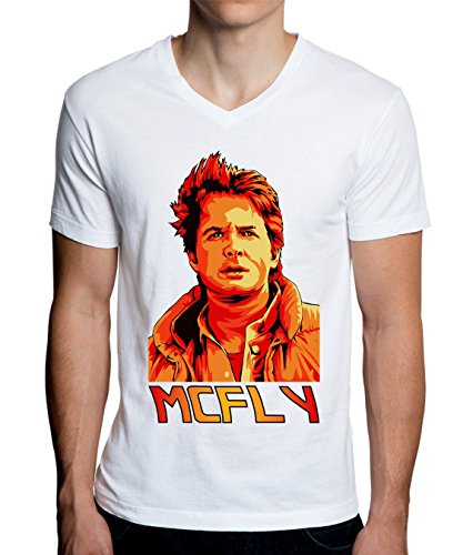 Marty McFly - Back To The Future Colored Design Men's V-Neck T-Shirt X-Large -