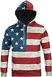 Pizoff Unisex Hip Hop Sweatshirts druck Kapuzenpullover mit Farbkleks 3D Digital Print amerikanische Flagge Y1760-12-S