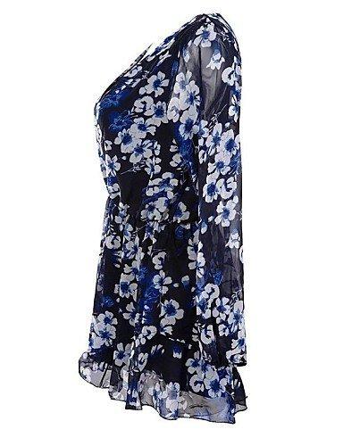 GSP-sexy v-cou volants imprimés floraux de femmes longues manches courtes salopette screen color-m
