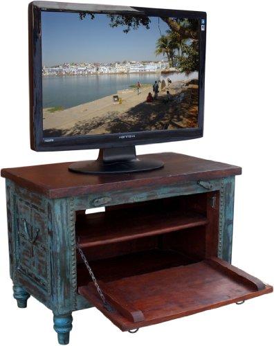 Guru-Shop Pequeña Caja Plasma tv Mesa de TV Antiqueblue, Verde Antiguo, 50x70x40 cm, Cómodas y Aparadores