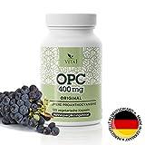 VITA1 OPC Traubenkernextrakt hochdosiert 400 mg • 120 Kapseln • Vegetarisch Glutenfrei Sojafrei ohne Konservierungsmittel • Hergestellt in Deutschland