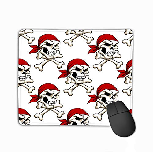 Mouse pad pirate skull crossbones seamless pattern red bandana wallpaper piracy another design steelseries keyboard (Pink Pirate Bandana)