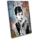 Bold Bloc Design - Audrey Hepburn Iconic Celebrities 90x60cm SINGLE Leinwand Kunstdruck Box gerahmte Bild Wand hangen - handgefertigt In Grossbritannien - gerahmt und bereit zum Aufhangen - Canvas Art Print