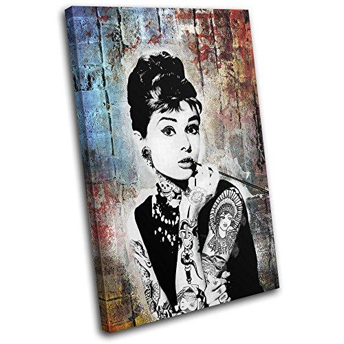 Bold Bloc Design - Audrey Hepburn Iconic Celebrities 60x40cm SINGLE Leinwand Kunstdruck Box gerahmte Bild Wand hangen - handgefertigt In Grossbritannien - gerahmt und bereit zum Aufhangen - Canvas Art Print
