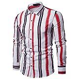 Maglietta da Uomo, con Bottoni Decorativi, Casual Chic, Longsleeve, 5 Vari Colori, Design 2 in 1, Slim Fit Shirt (S,Bianco)