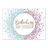 8 x Einladung Baby Shower Party/Einladungskarten mit Umschlag im Set/Motiv: Moderner Look rosa und blau/Babyparty Karte/Postkarte /