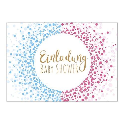 hower Party/Einladungskarten mit Umschlag im Set/Motiv: Moderner Look rosa und blau/Babyparty Karte/Postkarte / ()