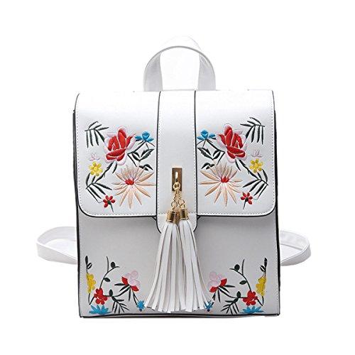 QPALZM 2017 Frau Mode Stickerei Multifunktionale Tasche Reise Quaste Rucksack White