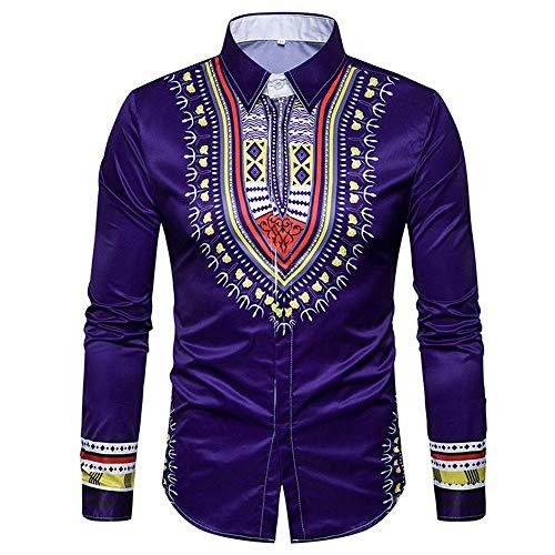 Geili Herren Afrikanisch Gedruckt Hemd Langarmshirt Dashiki Mode Umlegekragen Langarm Bluse Große Größen T Shirt Freizeithemd Vintage Tops Oberteile