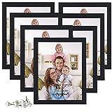 Giftgarden Cadre Photos Noir 20x25 cm Lot de 7 Cadres Murale avec Pieds Ornement en Bois Composite pour Décoration Mariage