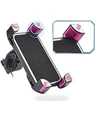 Universal 360 ° Switch Montaje de la motocicleta,Cheeroyal bicicleta de la moto Soporte del soporte del teléfono de la bici para el iPhone para el teléfono de Samsung S4 S5 S6 S7 Nota 2 3 4 5 iPhone 4 5 6 6s 6 más LG HTC (Rojo)