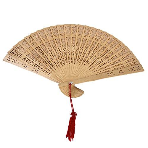 esisch Japanisch Handfächer aus Sandelholz Hochzeit Party Lüfter Handventilator Falttasche Fan als Geschenk Beige (Retro Tanz Kostüm)