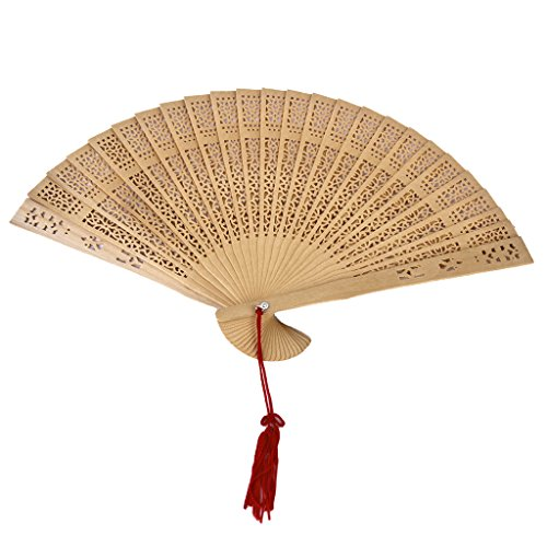 Gazechimp Retro-Chinesisch Japanisch Handfächer aus Sandelholz Hochzeit Party Lüfter Handventilator Falttasche Fan als Geschenk (Tanz Home Kostüme)