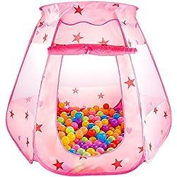 Parque de Bolas Niñas Princesa Infantil Bebe Para Casa, SKL Piscina de Bolas Niña Al Aire Libre Armable Plegable Portátil (Rosa 120*90*60cm Sin Bolas)