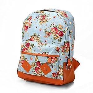 Canvas Floral Backpack Vintage Flower Design Fashion Travelling Bag Schoolbag Canvas Backpack For Girls, Flower Print Backpack (Blue)