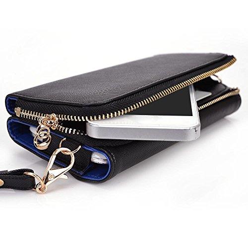Kroo d'embrayage portefeuille avec Wristlet et bandoulière pour Smartphone Apple iPhone 5C mehrfarbig - Black and Purple mehrfarbig - Black and Blue
