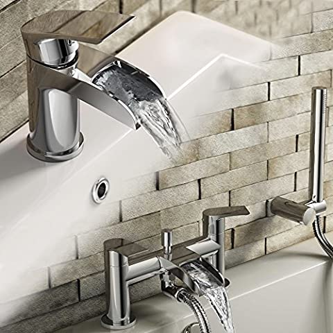 Luxury Waterfall Basin Sink Mixer Tap + Bath Filler with