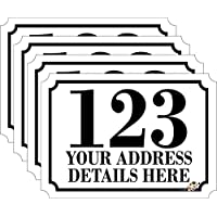 Personalised Printed Wheelie Bin Number Stickers with number and road Name - A6 Vinyl Waste Container Decals - set of 4 NEW STYLE