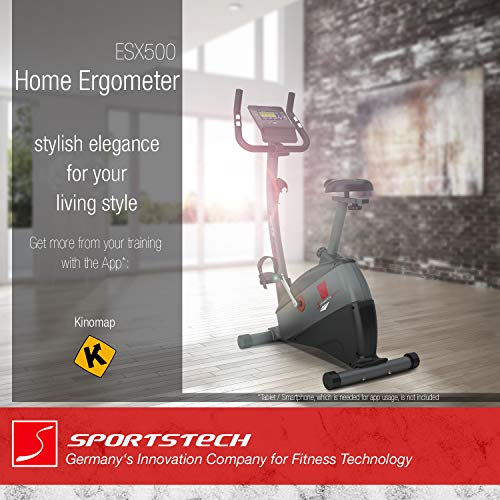 Sportstech-Exercise-Bike-ESX500-with-smartphone-app-control-12KG-inertia-pulse-belt-compatible-fitness-bike-hometrainer-with-low-noise-belt-drive-system-with-Kinomap