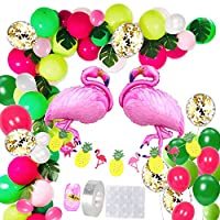RPANDA Tropical Hawaii Party Decorations Balloons, 68 Pack Balloon Garland Kit- Latex Balloons with Palm Leaves Set,Decor Banner and Flamingo Helium Balloons for Luau Fruit Party Supplies.