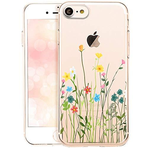 OOH!COLOR Collection 2019 Handyhülle kompatibel mit iPhone 7 iPhone 8 Hülle transparent dünn Bumper Silikon Schutzhülle durchsichtig Case mit Motiv Blumenwiese (EINWEG)