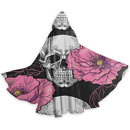 Kostüm Skull Pink Sugar - BYME Erwachsenen Mantel Unisex Halloween Kostüm Sugar Skull Pink Poppy Flower Cosplay Umhang