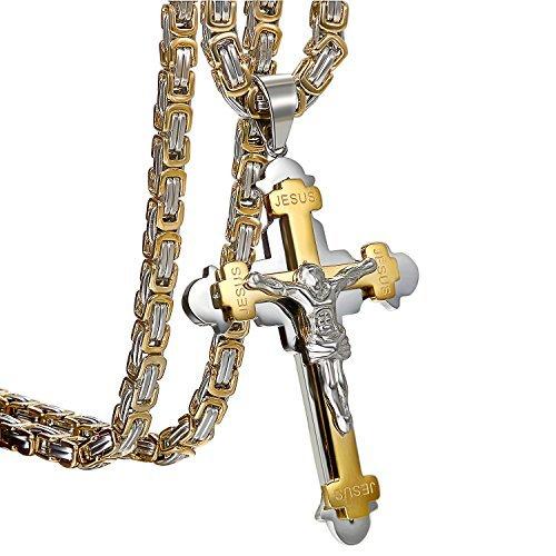 Oidea Herren-Halskette, Edelstahl, Punk-Rock-Stil, zweilagig, Jesus am Kreuz, Gold, Silber, Schwarz, drei Farbtöne, mit rauen Ketten, Geburtstagsgeschenk
