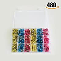 Cable Terminals 480pcs with Case, Marine Automotive Car Vehicle Electronic Wire Terminals, Assorted Crimp Wire Connectors, Waterproof Heat Shrink Insulated Butt Terminals
