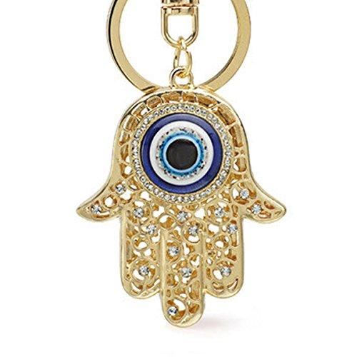 Hamsa Mano di Fatima evil eye auto portachiavi portachiavi borsetta fibbia ciondolo amuleto portafortuna finti diamanti, placcato in oro rosa 18K