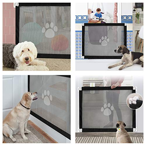 PETCUTE Dog Gate retractable baby gates for dogs dog gate for stairs mesh pet gate for stairs, door,kitchen  PETCUTE
