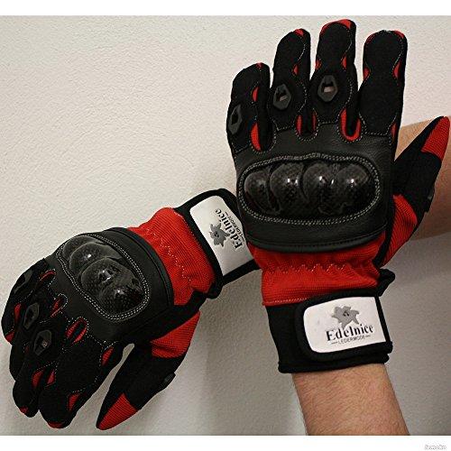 Lemoko-Guanti dita di carbonio, taglia XS-: 3XL, colore: nero/bianco, Nero/Arancio/Blu/Bianco, Nero/Rosso extra-large rosso