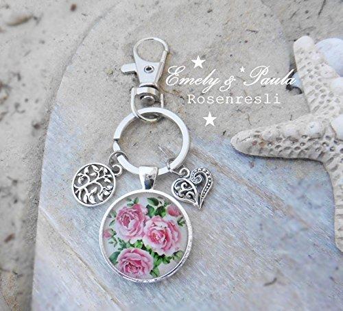SchlüsselAnhänger Cabochon Rosen Lebensbaum Herz romantisch Verliebte Geschenk
