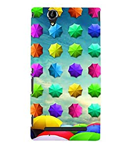 Colourful Umbrellas Pattern 3D Hard Polycarbonate Designer Back Case Cover for Sony Xperia T2 Ultra :: Sony Xperia T2 Ultra Dual SIM D5322 :: Sony Xperia T2 Ultra XM50h