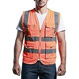 Panegy - Gilet Haute visibilité-Veste Réfléchissante-bandes avec Poches pour Chantier/Construction/Transport - en sergé - orange - Taille L
