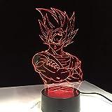 FaceToWind Für Kinder Dragon Ball Z Vegeta Super Saiyan LED Licht Lampe Super Son Goku LED Tisch Schreibtischlampe mit Touch Remote 3D LED Lampe