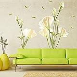 WandSticker4U- XL Wandtattoo Blumen CALLA LILIE in Weiß | Wandbild: 135x97cm | Wandsticker Pflanzen Wandaufkleber Blüten Blätter Garten Natur | Deko für Wohnzimmer Schlafzimmer Küche Bad Fenster Flur